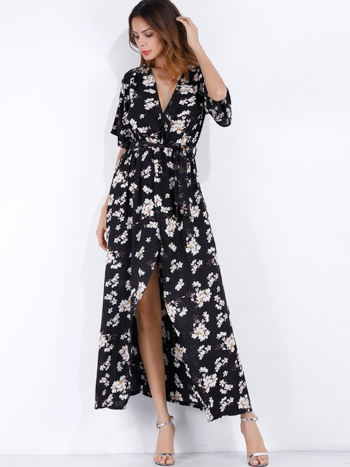 Half Sleeve Floral Prints Split Maxi Dress