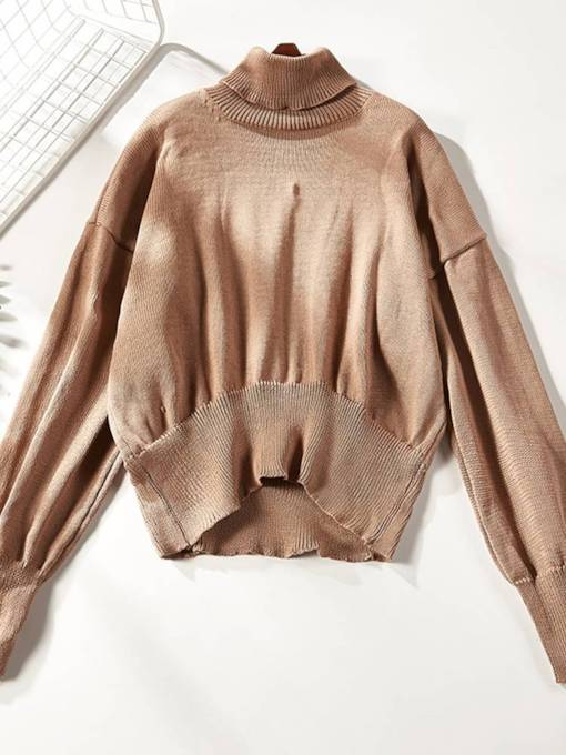 High Neck Asymmetric Loose Fit Women's Sweater