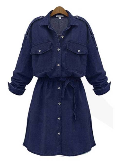 Long Sleeve Button Pocket Women's Day Dress