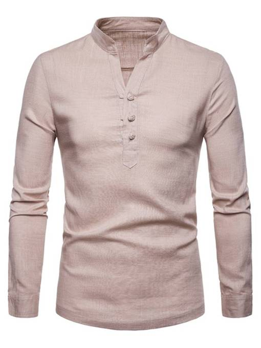 Stand Collar Solid Color Plain Men's Shirt