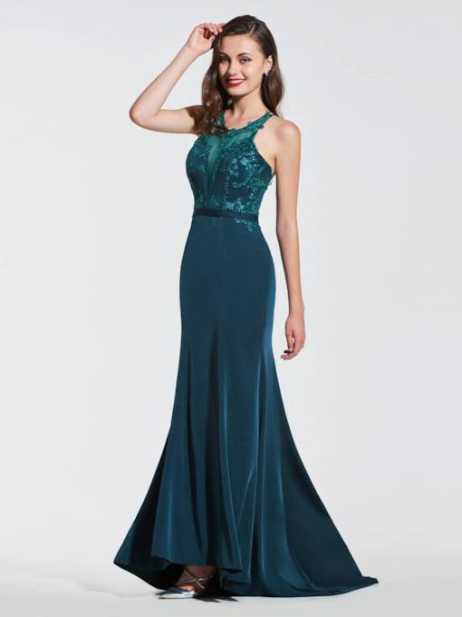 Scoop Lace Trumpet Criss-Cross Straps Evening Dress