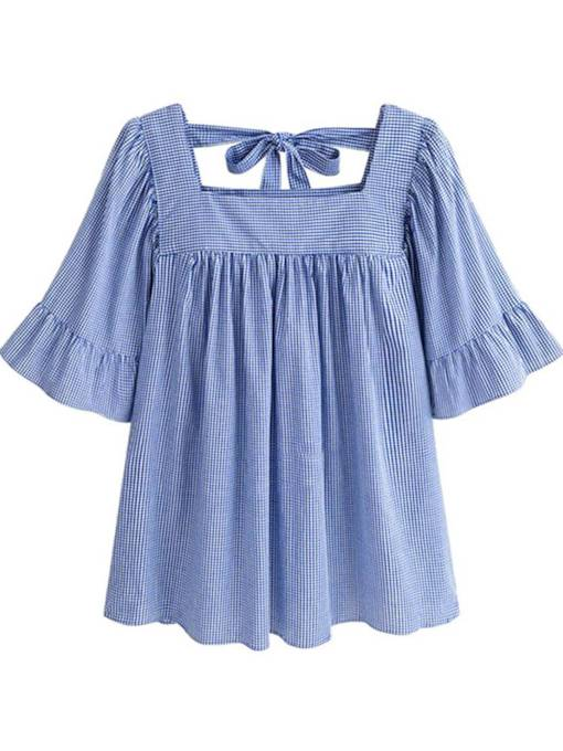 Square Neck Flare Sleeve Pleated Women's Blouse