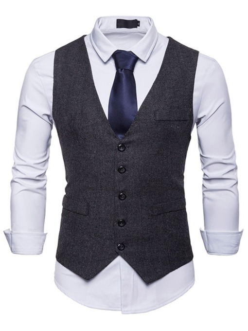 Solid Color Plain Slim Fit Men's Vest