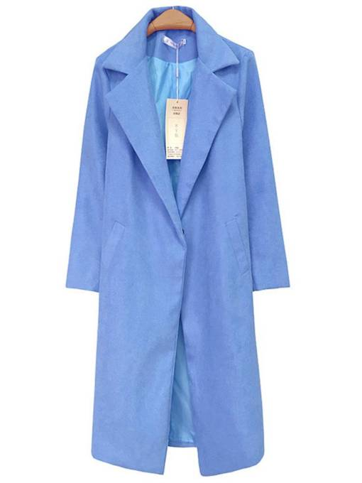 Notch Neck Denim Blue Mid Length Women's Trench Coat