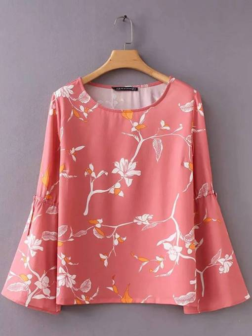 Flare Sleeve Floral Print Scoop Neck Women's Blouse