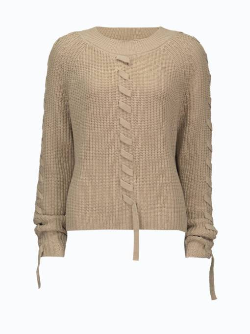 Plain Lace Up Round Neck Women's Sweater