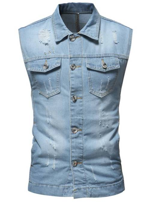 Lapel Wash Slim Men's Vest