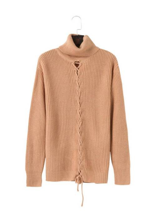 Crisscross Hollow Out High Collar Women's Sweater