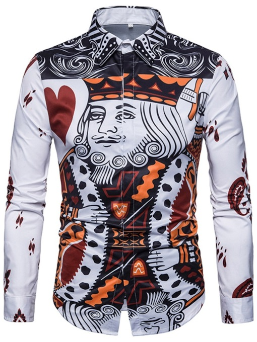 Poker Print Leisure Men's Shirt