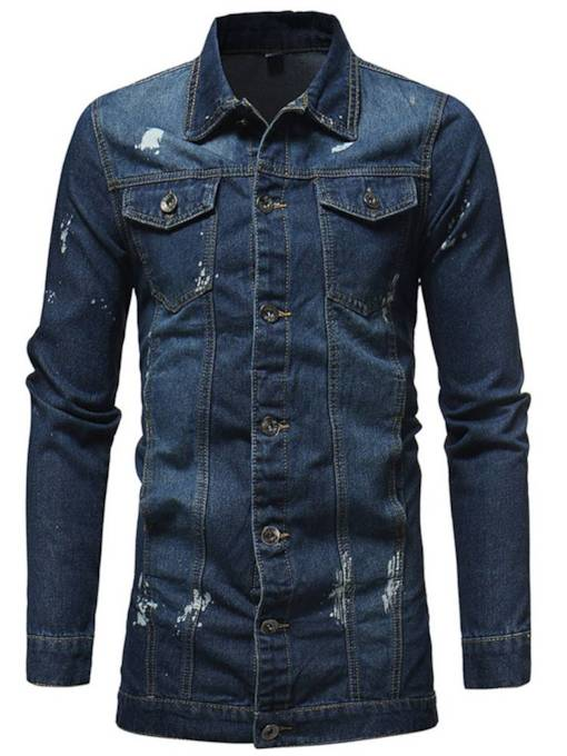 Mid Pattern Wash Slim Men's Denim Jacket