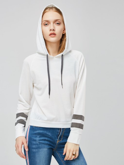 Striped Color Block Short Women's Hoodie