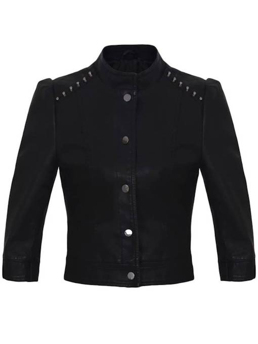 Button Down Stand Collar Women's Jacket