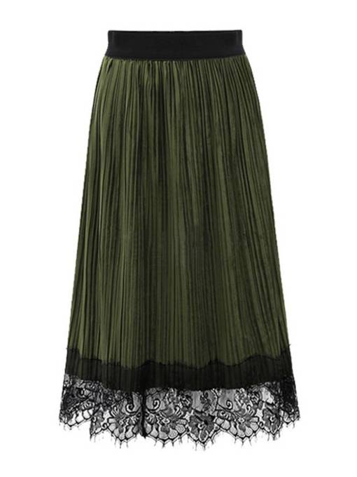 Lace Patchwork Women's Pleated Skirt