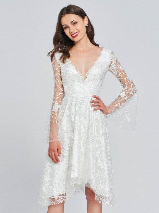 A-Line V-Neck Lace Button Homecoming Dress
