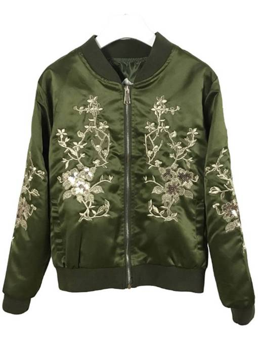 Floral Embroidery Zipper Up Stand Collar Women's Jacket