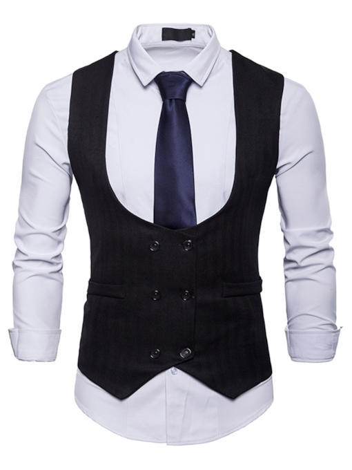 Double Breasted Slim Fit Men's Vest