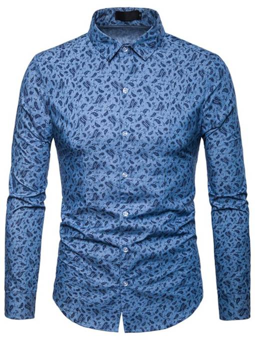 Lapel Floral Print Solid Color Men's Leisure Shirt