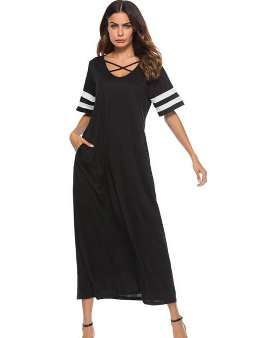 Short Sleeve Casual Pocket Women's Maxi Dress