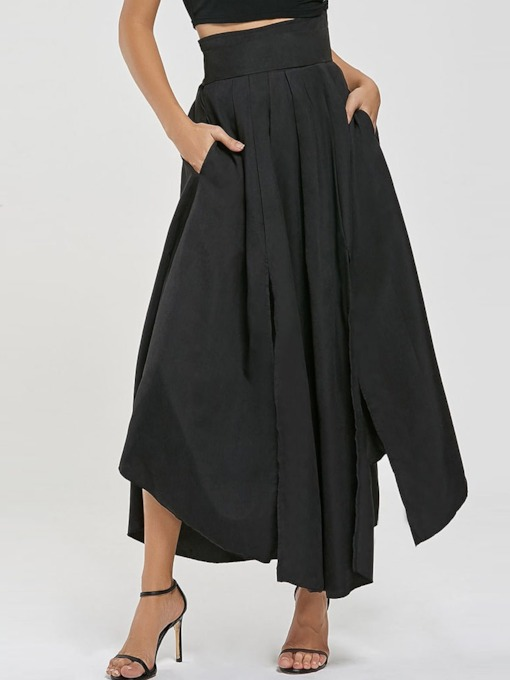 Asymmetric Pocket Split Women's Skirt