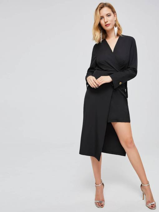 V Neck Double-Layered Women's Day Dress