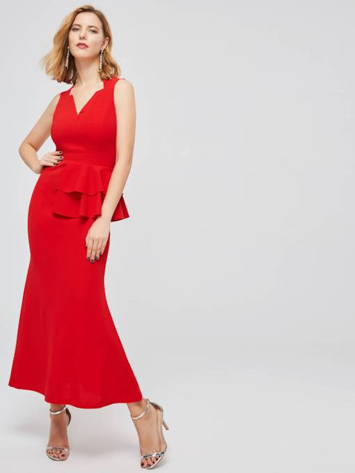 Red Double-Layered Sleeveless Women's Maxi Dress