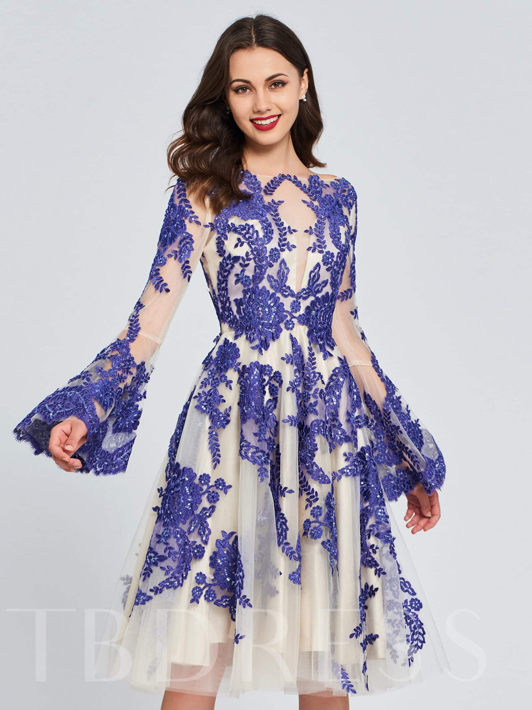 Buy A-Line Appliques Lace Ruffles Homecoming Dress, Spring,Summer,Fall,Winter, 13372952 for $161.12 in TBDress store