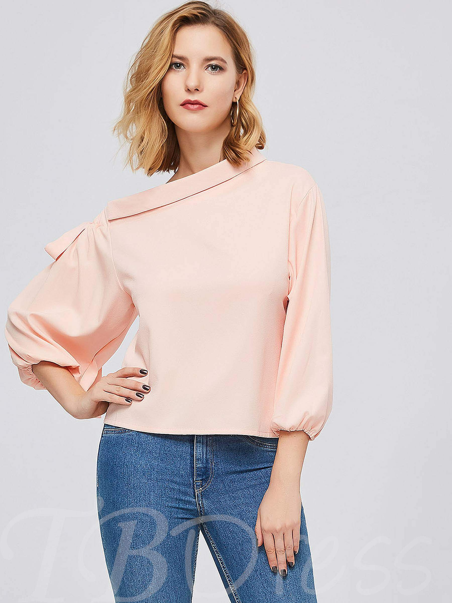 Buy One Shoulder Off Candy Color Women's Blouse, Spring,Summer,Fall, 13379377 for $10.66 in TBDress store