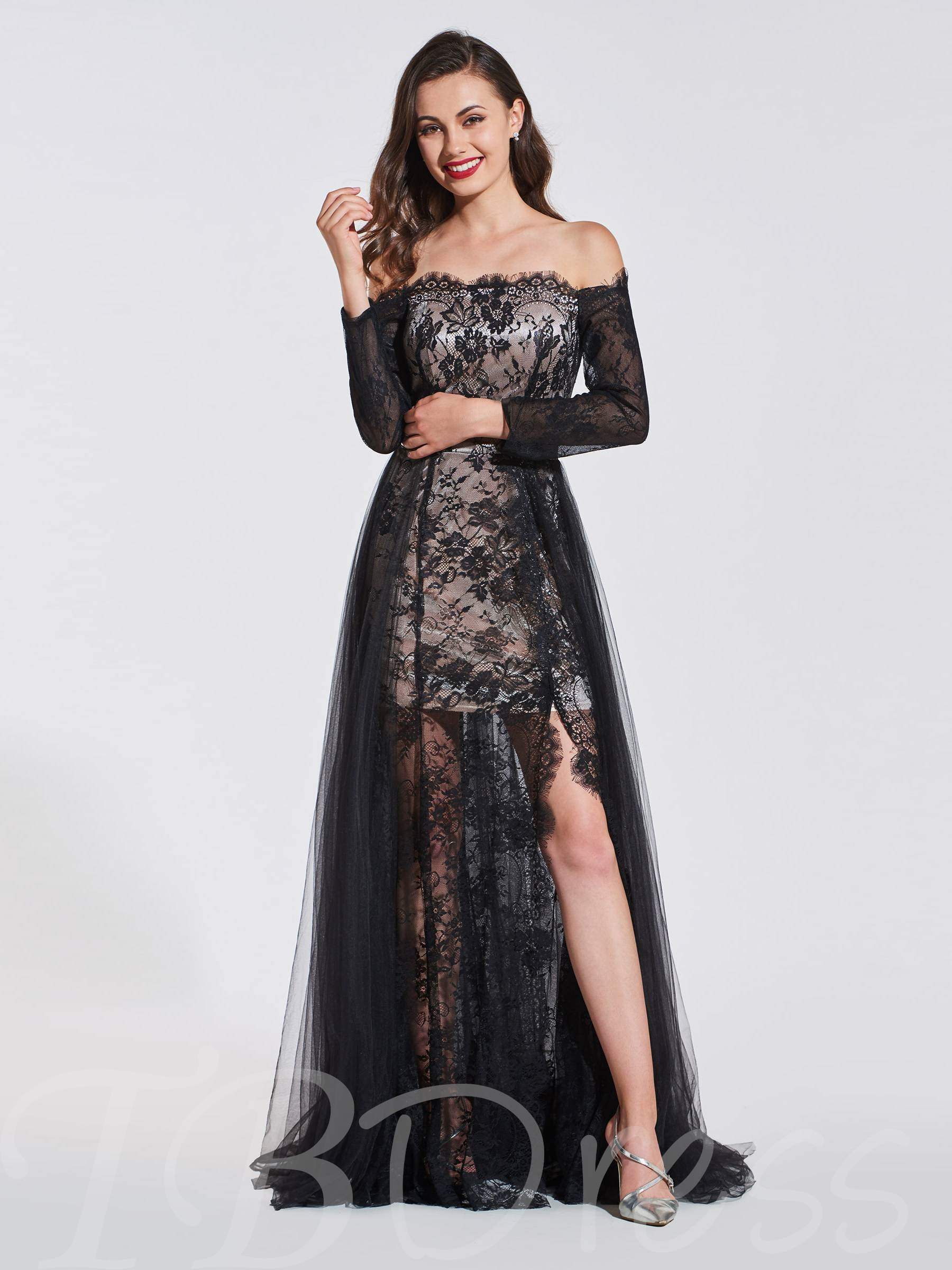 Buy A-Line Lace Split-Front Off-the-Shoulder Evening Dress, Spring,Summer,Fall,Winter, 13372953 for $140.63 in TBDress store