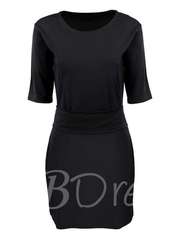 Buy Round Neck Short Sleeve Plain Day Dress, Summer,Fall, 13378925 for $16.91 in TBDress store