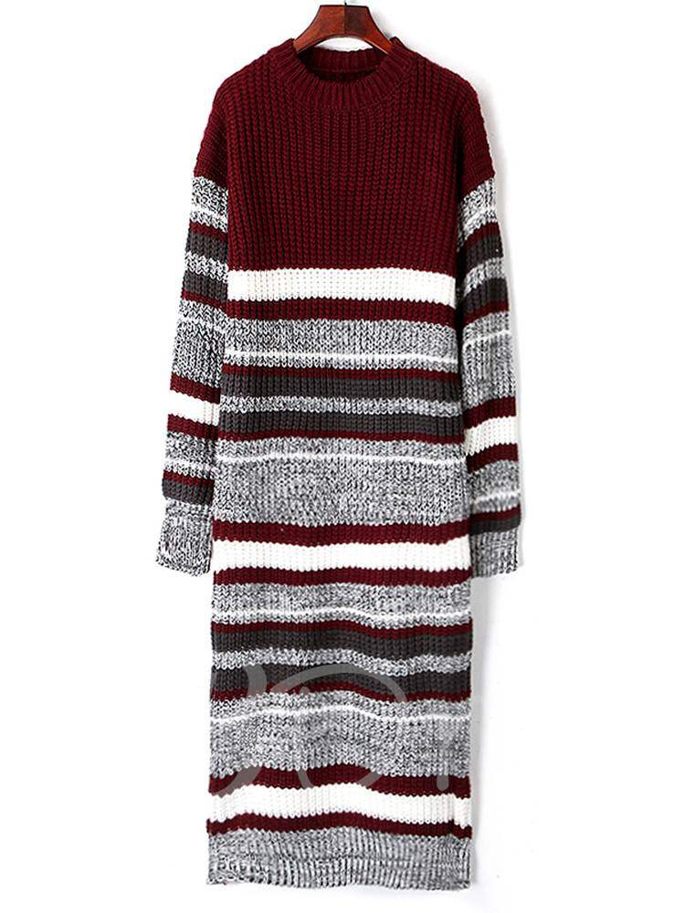 Buy Long Sleeve Round Neck Stripe Sweater Dress, Spring,Fall,Winter, 13378939 for $14.34 in TBDress store