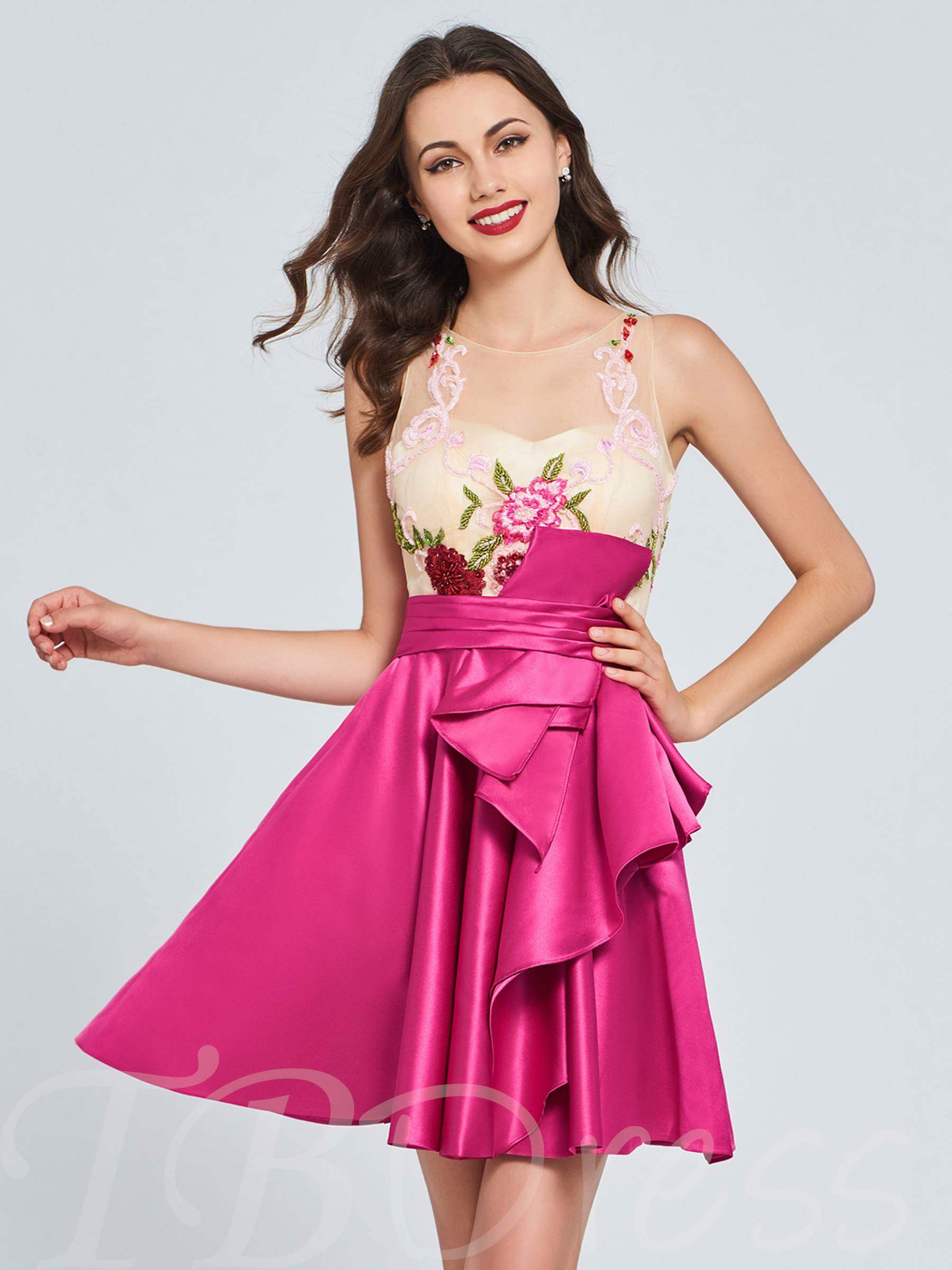 Buy A-Line Scoop Appliques Pleats Ruffles Homecoming Dress, Spring,Summer,Fall,Winter, 13372945 for $122.85 in TBDress store