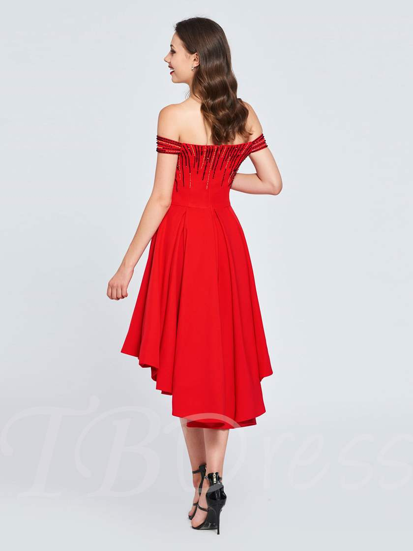 A-Line Beaded Off-the-Shoulder High Low Homecoming Dress