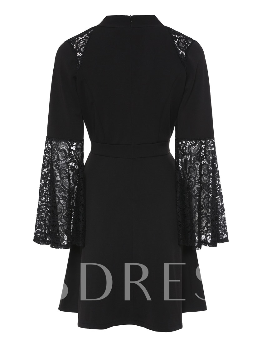 V-Neck Bell Sleeve Lace High Waist Day Dress