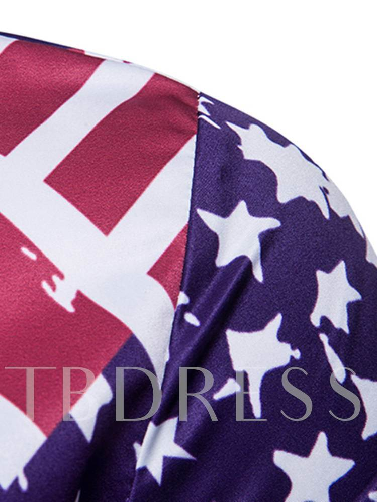 Star Flag Print Lapel Men's Shirt