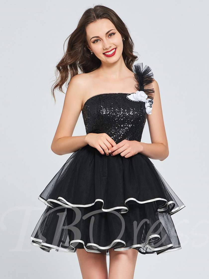 A-Line One-Shoulder Flowers Sequins Homecoming Dress