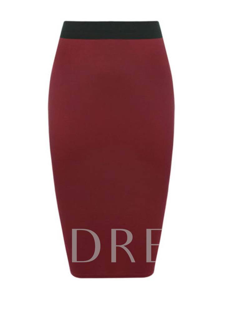 Plain High Waist Women's Bodycon Skirt
