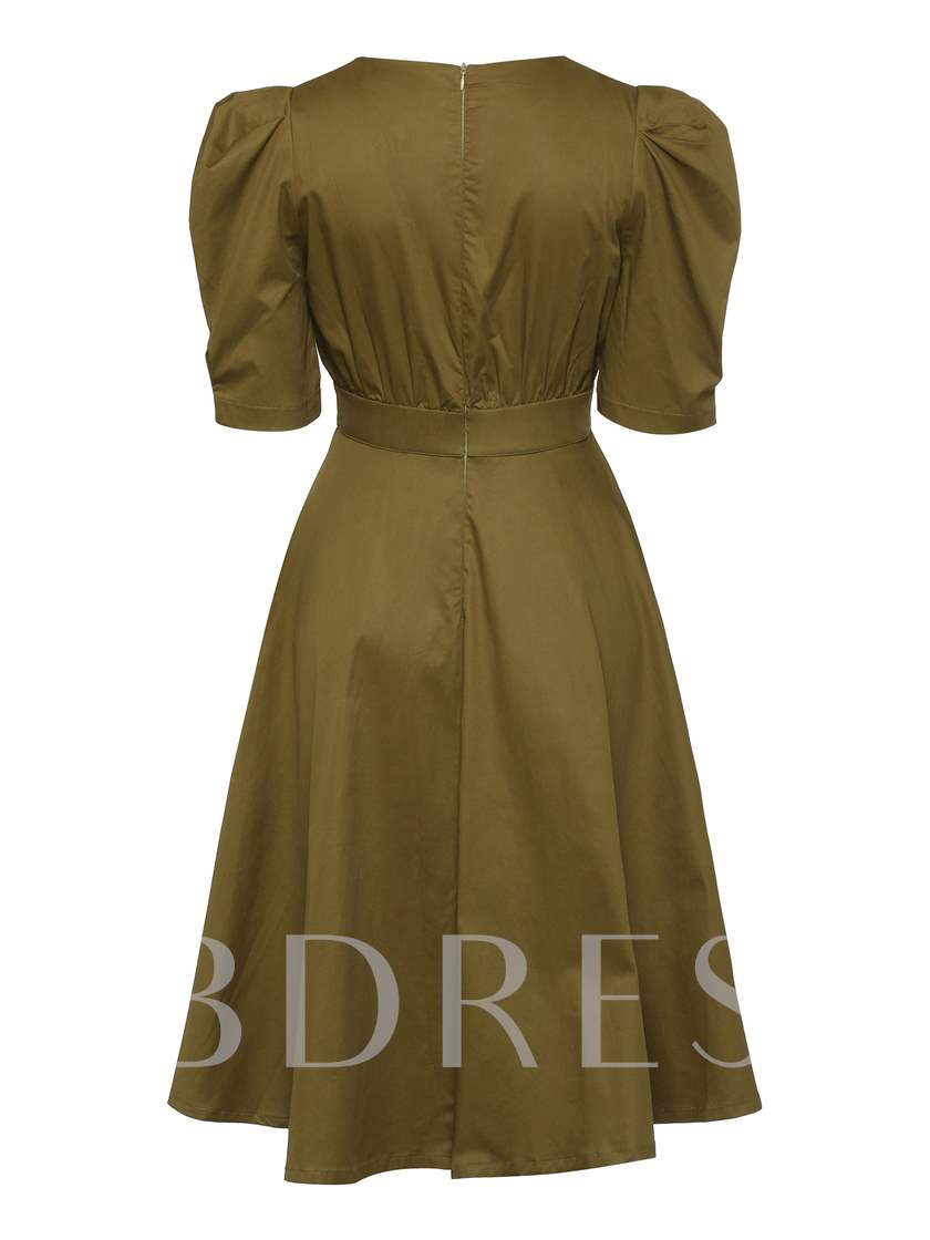 Round Neck Short Sleeve Button Casual Dress