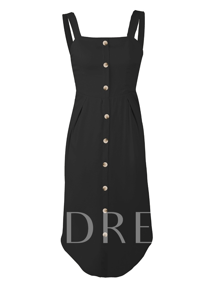 Spaghetti Strap Button Plain Day Dress