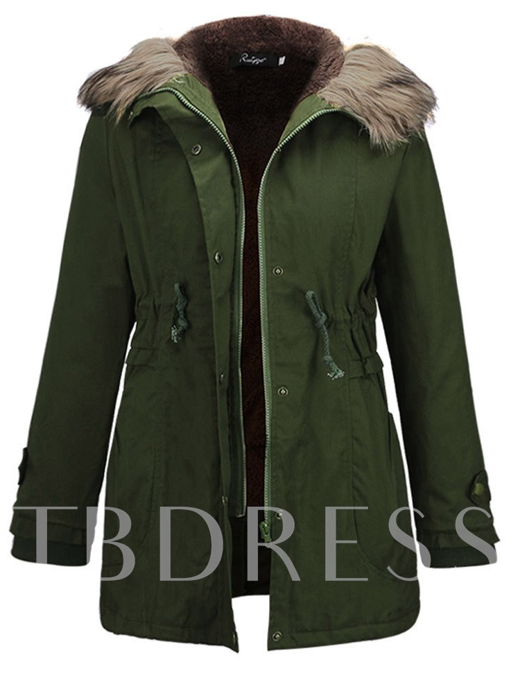 Drawstring Faux Fur Zipper Up Solid Color Women's Jacket