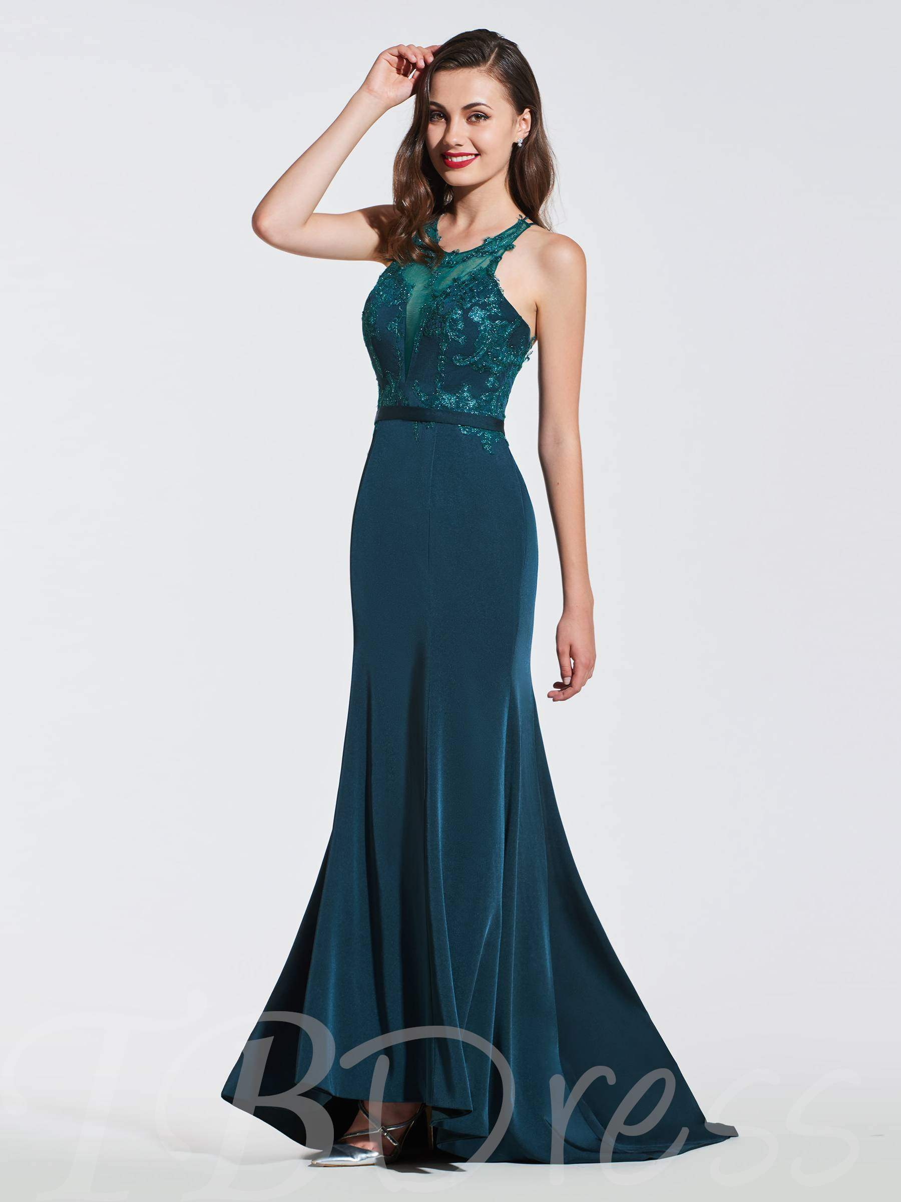 Buy Scoop Lace Trumpet Criss-Cross Straps Evening Dress, Spring,Summer,Fall,Winter, 13372954 for $166.04 in TBDress store
