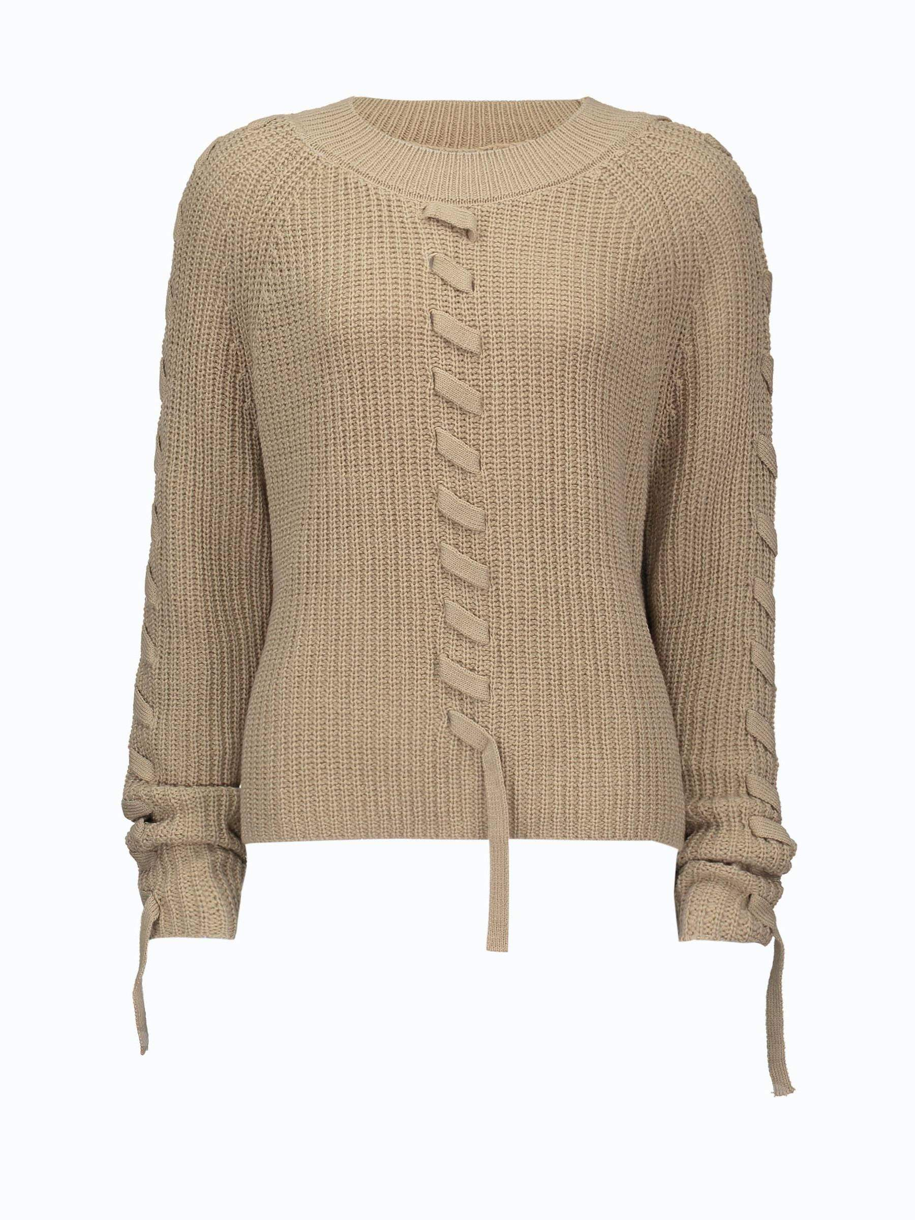 Buy Plain Lace Up Round Neck Women's Sweater, Spring,Fall,Winter, 13379367 for $15.81 in TBDress store