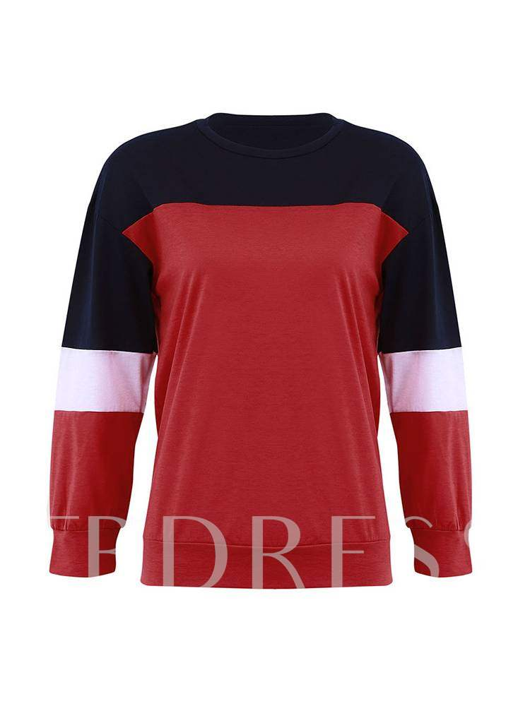 Buy Pullover Color Block Scoop Neck Women's Sweatshirt, 13405007 for $11.76 in TBDress store