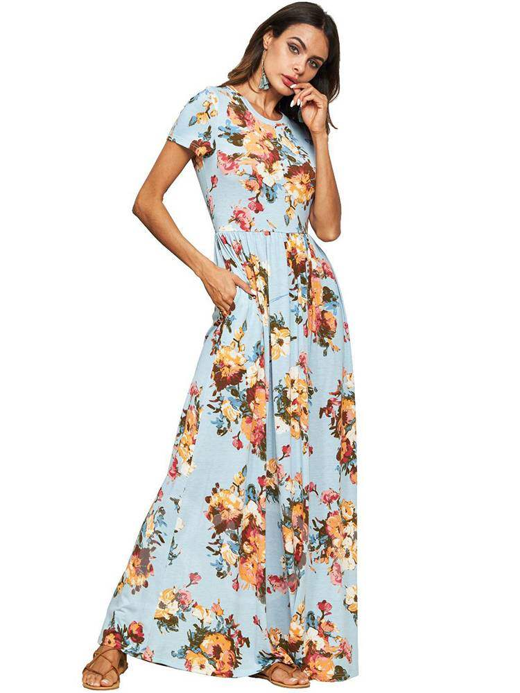 Buy Round Neck Floral Prints Bohemian Maxi Dress, Summer, 13378915 for $17.28 in TBDress store