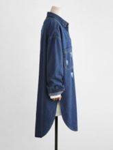 Ripped Single-Breasted Denim Mid Length Women's Trench Coat