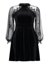Stand Collar Lace Sleeve High Waist Day Dress