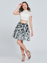 A-Line Lace Printed Two Pieces Homecoming Dress