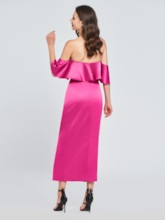 Sheath Off-the-Shoulder Bowknot Ruffles Cocktail Dress