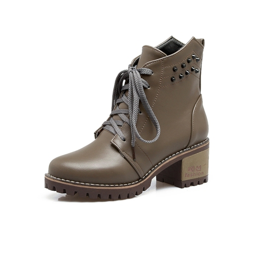 Round Toe Lace-Up Rivet Sewing Women's Ankle Boots