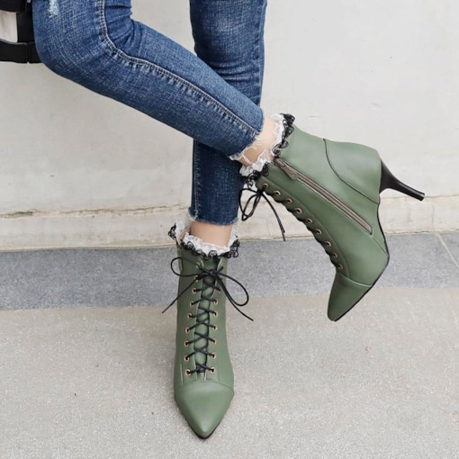 Pointed Toe Side Zipper Cross Strap Lace Women's Ankle Boots