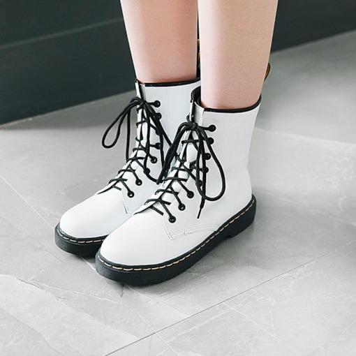 Round Toe Plain Block Heel Lace-Up Front Casual Boots